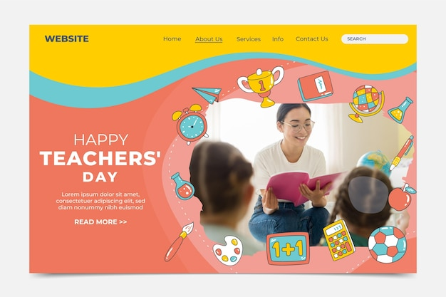 Hand drawn flat teachers' day instagram posts collection with photo