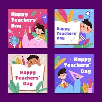 Collezione di post instagram per il giorno degli insegnanti piatti disegnati a mano