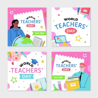 Hand drawn flat teachers' day instagram posts collection