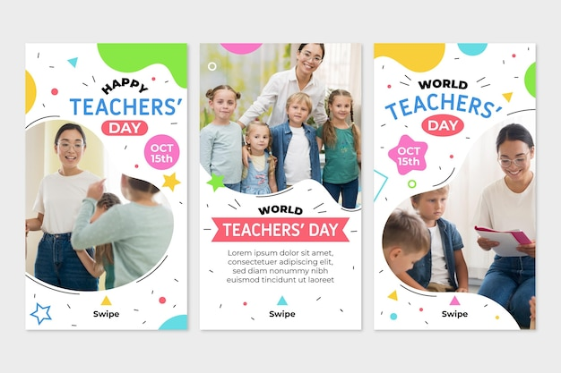 Hand drawn flat teachers' day instagram stories collection with photo