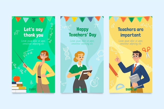 Hand drawn flat teachers' day instagram stories collection