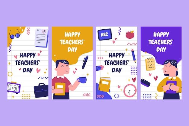 Collezione di storie di instagram per la giornata degli insegnanti disegnate a mano