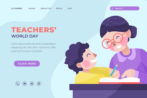 Hand drawn flat teachers' day landing page template with pupil and teacher
