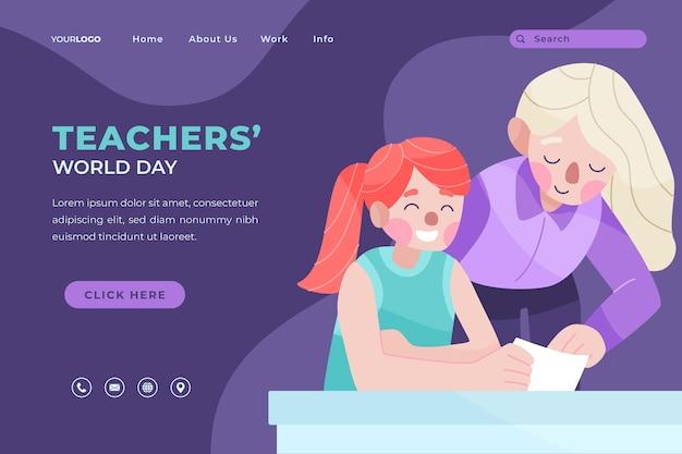 Ручной обращается плоский шаблон целевой страницы дня учителя со студентом и учителем