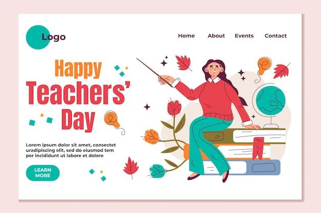 Modello di pagina di destinazione del giorno degli insegnanti piatto disegnato a mano