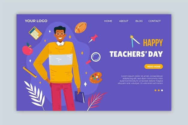 Hand drawn flat teachers' day landing page template