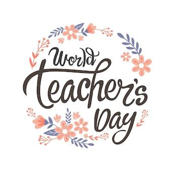 Iscrizione piatta del giorno degli insegnanti disegnata a mano
