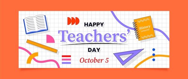 Hand drawn flat teachers' day social media cover template