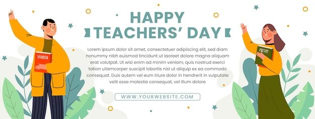 Modello di copertina per social media del giorno degli insegnanti piatto disegnato a mano