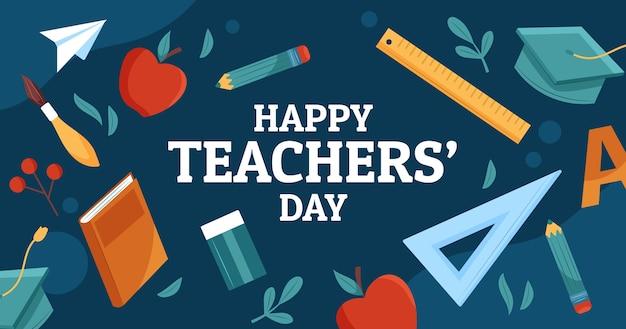 Hand drawn flat teachers' day social media post template