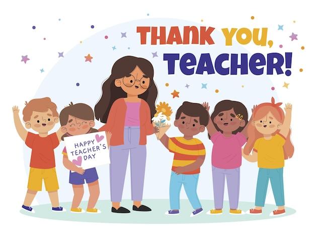 Modello di post sui social media del giorno degli insegnanti piatto disegnato a mano