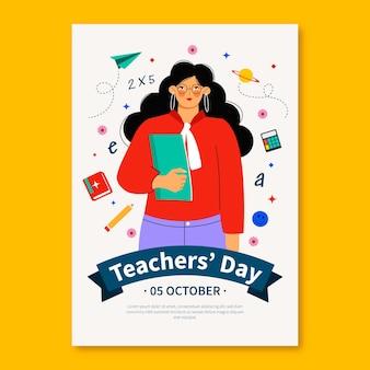 Modello di volantino verticale per il giorno degli insegnanti piatto disegnato a mano