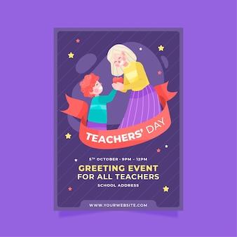 Ручной обращается плоский шаблон вертикального плаката день учителя с учеником, дающим учителю яблоко