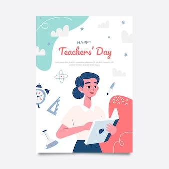 손으로 그린 평면 스승의 날 세로 포스터 템플릿