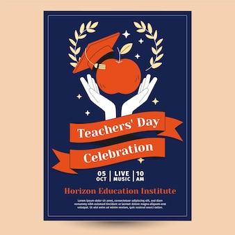 Hand drawn flat teachers' day vertical poster template Free Vector