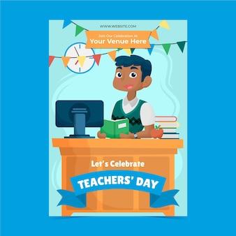 Ручной обращается плоский шаблон вертикального плаката день учителя