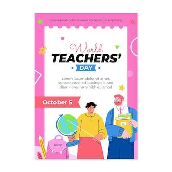 Hand drawn flat teachers' day vertical poster template