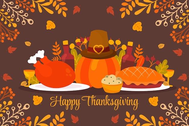 Hand drawn flat thanksgiving background