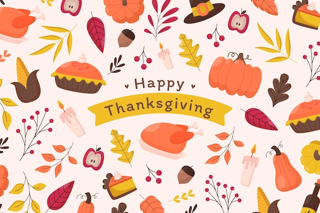 Fondo piatto di ringraziamento disegnato a mano