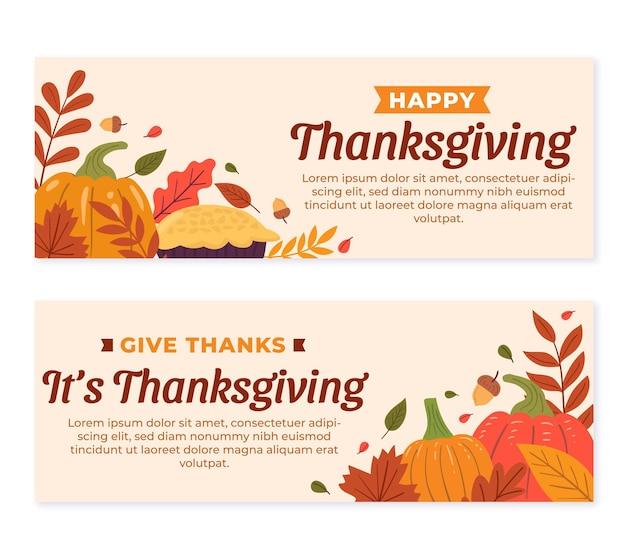 Hand drawn flat thanksgiving horizontal banners set