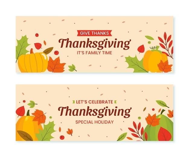 Набор рисованной плоских горизонтальных баннеров благодарения