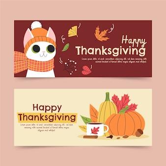 Set di banner orizzontali di ringraziamento piatto disegnato a mano