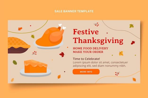 Hand drawn flat thanksgiving horizontal sale banner