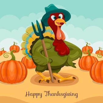 Hand drawn flat thanksgiving illustration with turkey