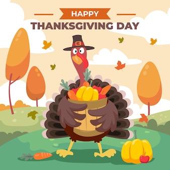 Hand drawn flat thanksgiving illustration