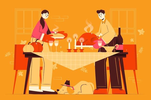 手描きフラット感謝祭イラスト