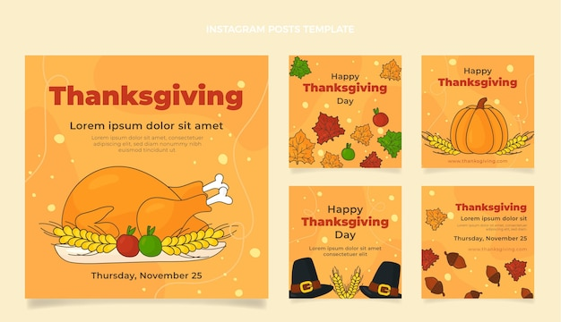 Hand drawn flat thanksgiving instagram posts collection