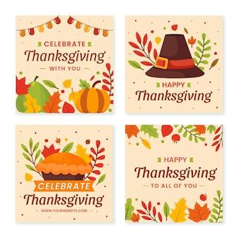 Collezione di post di instagram di ringraziamento piatto disegnato a mano