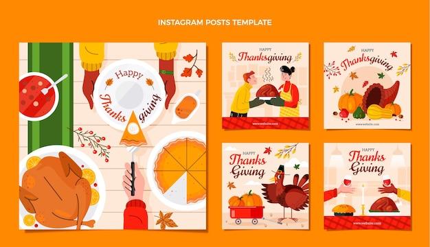 手描きのフラット感謝祭のinstagramの投稿コレクション