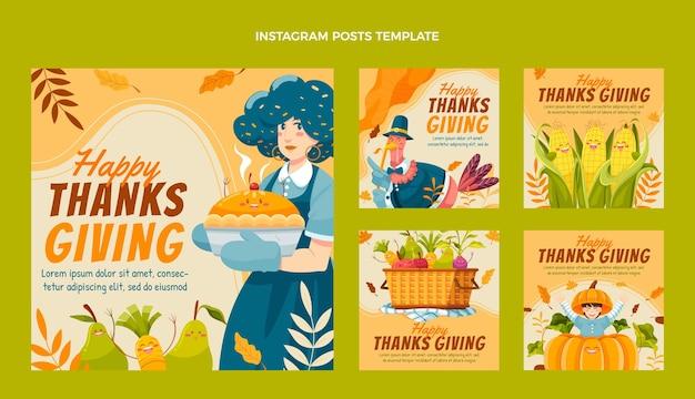 Нарисованная рукой плоская коллекция постов благодарения instagram