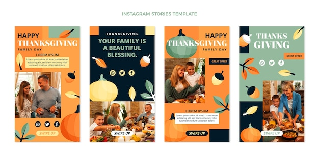Hand drawn flat thanksgiving instagram stories collection