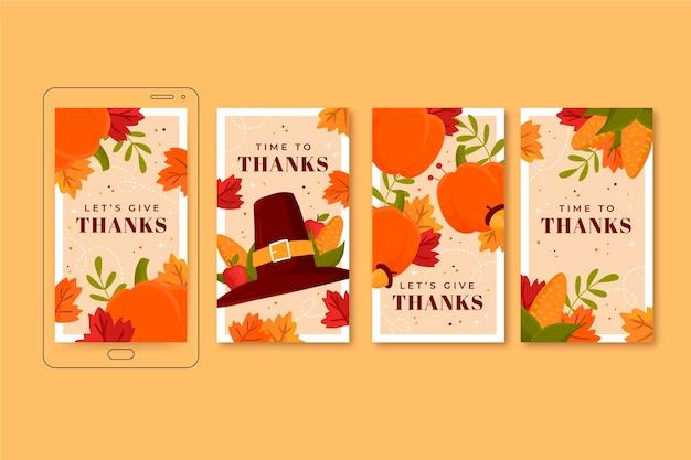 手描きフラット感謝祭instagramストーリーコレクション