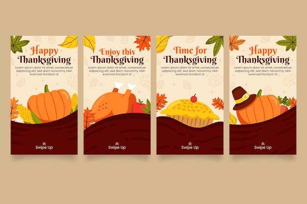 Raccolta di storie di instagram di ringraziamento piatto disegnato a mano