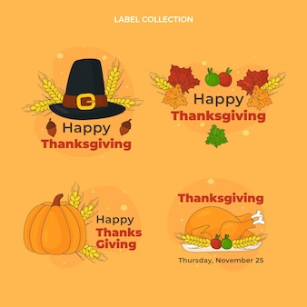 Hand drawn flat thanksgiving labels collection