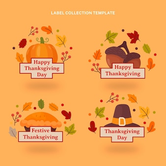 Hand drawn flat thanksgiving labes collection
