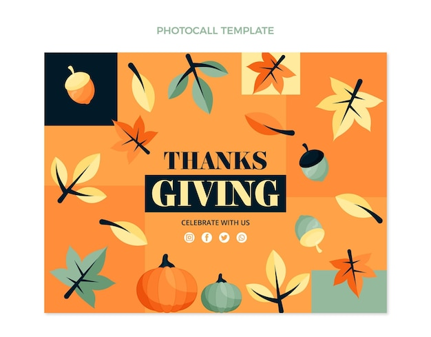 Hand drawn flat thanksgiving photocall template