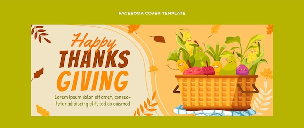 Hand drawn flat thanksgiving social media cover template