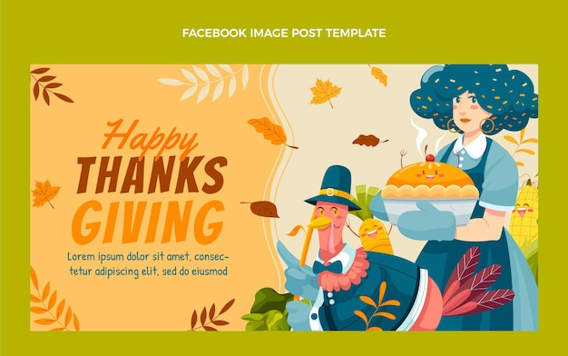 Modello di post sui social media di ringraziamento piatto disegnato a mano