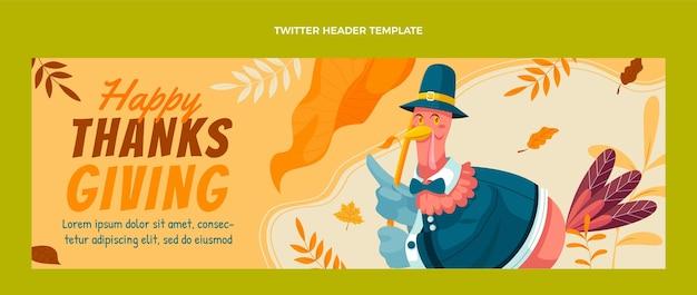 Modello di copertina di twitter di ringraziamento piatto disegnato a mano