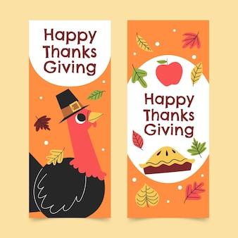 Set di banner verticali di ringraziamento piatto disegnato a mano