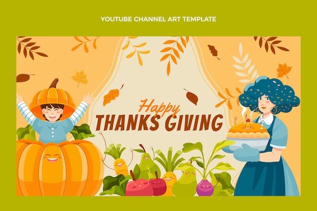 Arte del canale youtube del ringraziamento piatto disegnata a mano