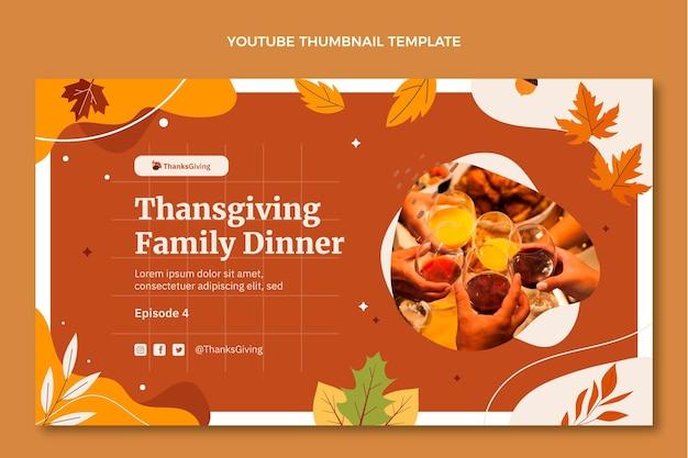 Miniatura di youtube del ringraziamento piatta disegnata a mano