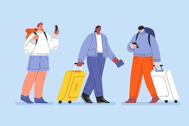 Набор рисованной плоских туристов