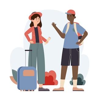 手荷物と手描きのフラット観光客