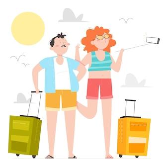 手描きのフラットな観光客