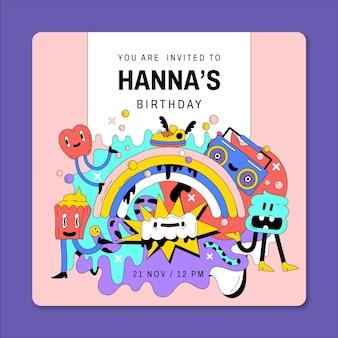 Hand drawn flat trendy cartoon birthday invitation template